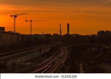 Sunset in Berlin. The view from the Warschauer Bridge, Berlin, Germany.