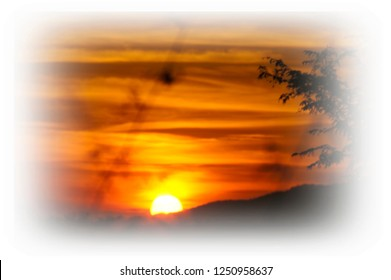 Sunset beside the mountain,colorful sky