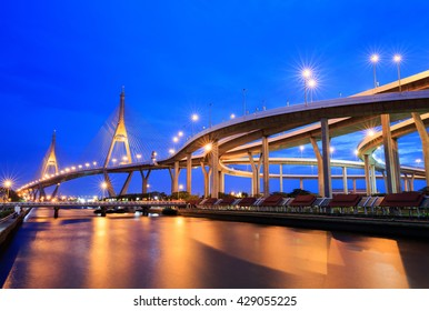 "Sunset at ""Bhumibol 2 Bridge"" cross overpass Chao Phraya River ,Bangkok ,Thailand"