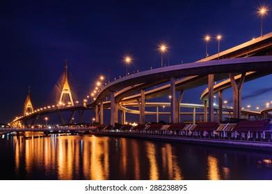 Sunset Bhumibol Bridge cross overpass Chao Phraya River in Bangkok ,Thailand
