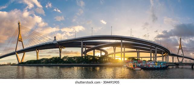 Sunset at Bhumibol Bridge in Samut Prakan, Thailand