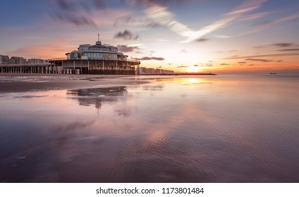 Sunset at Blankenberge pier on the beach