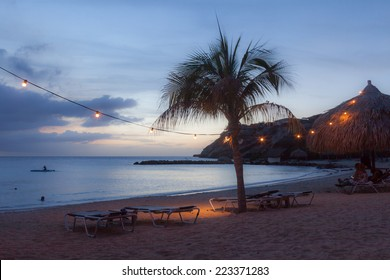 Sunset at Blue Bay Beach Curacao one of the Caribbean ABC islands