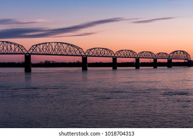 A sunset / blue hour view of the historic Brookport Bridge which carries US 45 over the Ohio River between Brookport, Illinois and Paducah, Kentucky.