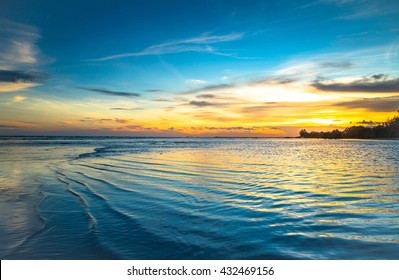 Sunset blue and orange on the beach Chanthaburi in Thailand