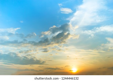 sunset with blue sky and cloud
