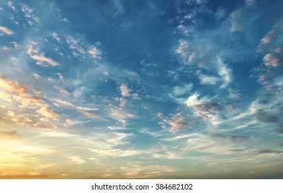 Sunset. blue sky and twilight colored cloud