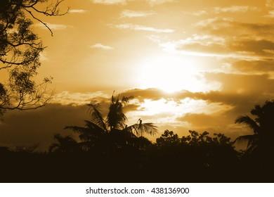 Sunset as blurred vintage background