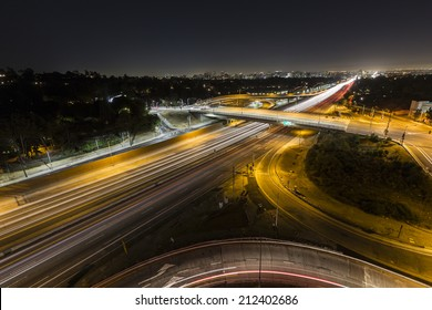 Sunset Blvd ramps and the San Diego 405 freeway at night in Los Angeles, California.