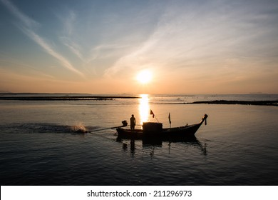 sunset with boat, Andaman Sea,Thailand
