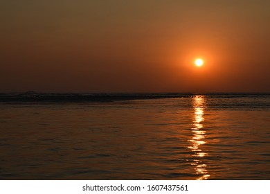 Sunset from boat sailing in Arabian sea