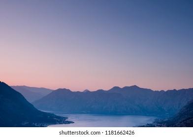 Sunset in Boka Kotorska view from Kotor Fortress