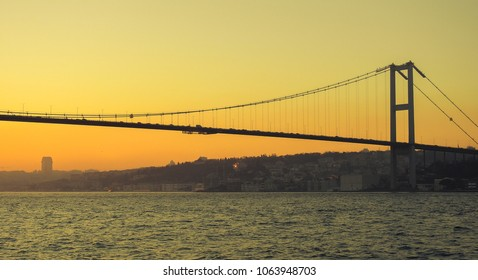 Sunset and Bosphorus. Istanbul. Turkey