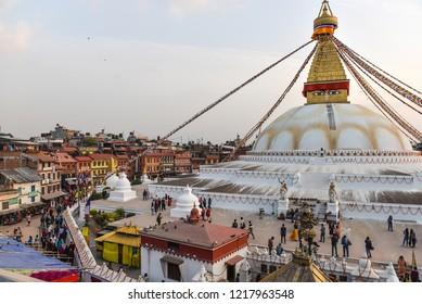 Sunset at the boudhanath stupa kathmandu,  Nepal, Asia