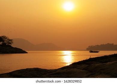 Sunset in Brahmaputra in Guwahati