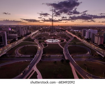Sunset in Brasilia, showing the center of town and TV Tower.