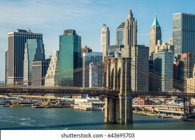 Sunset Brooklyn bridge Downtown New York skyscrapers sunrise river