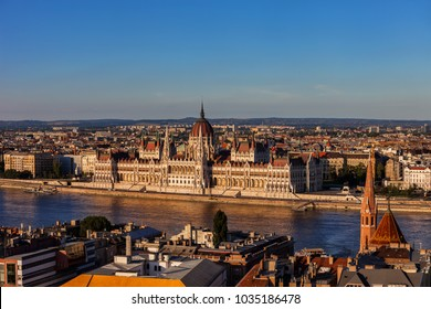 Sunset in Budapest, cityscape with Hungarian Parliament Building at Danube River, capital city of Hungary, Europe