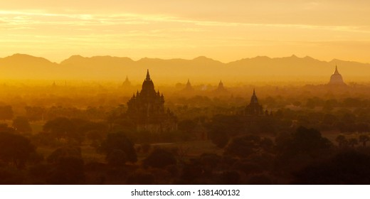 Sunset in buddhist temple,stupa,in the historical park of Bagan,Myanmar