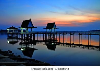 Sunset at Bueng See Fai, Phichit, Thailand