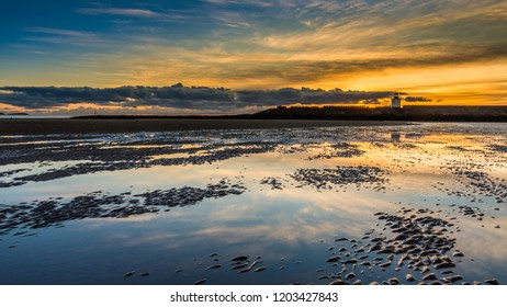Sunset at Burry Port beach. Llanelli, Carmarthenshire, south Wales