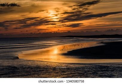 Sunset at Burry Port, Llanelli, Carmarthenshire. Wales. UK
