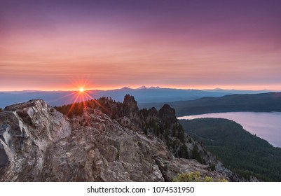 Sunset Burst Over the Rocks on Paulina Peak near Bend, Oregon