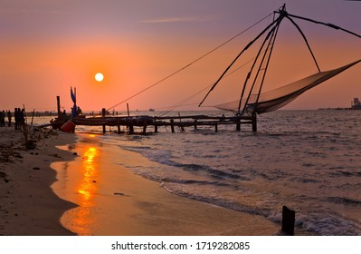 Sunset by the Chinese fishingnets on the Cochin coast, India