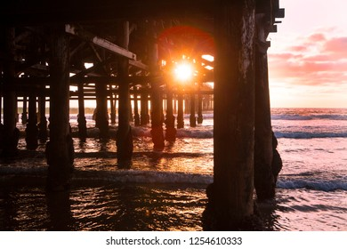 sunset by Crystal Pier in San Diego
