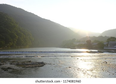 Sunset by Oi River in Arashiyama, Kyoto, Japan