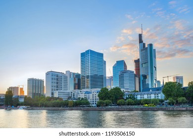 Sunset by the riverside with business district modern architecture, Frankfurt-am-Main, Germany
