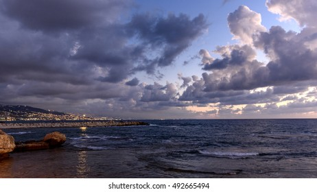 Sunset in Byblos (jubail) in Lebanon and view of Beirut