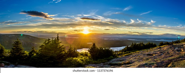 Sunset from Cadillac Mountain Bar Harbor on Mount Desert Island in Acadia National Park Maine