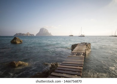 Sunset from Cala D Hort with Es Vedra island Ibiza Balearic islands Spain on June 20, 2019