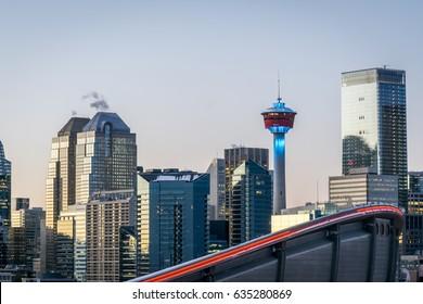 Sunset of Calgary skyline, Alberta, Canada