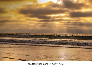 Sunset, California Cliffs and Torrey Pines State Beach Landscape Scenic View at La Jolla Shores north of San Diego,USA