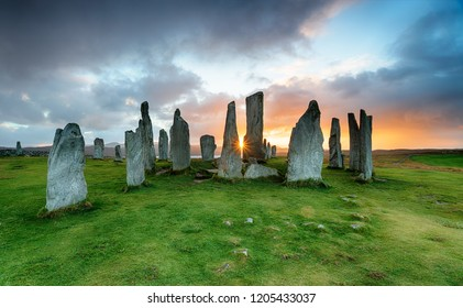 Sunset at the Callanish Stones on the Isle of Lewis in the Outer Hebrides in Scotland