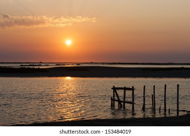 sunset in Camargue, Provence, France