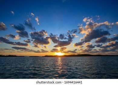 Sunset in Cambridge Cay Exumas Bahamas