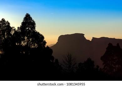 Sunset in Campos do Jordao, Brazil, with highlight to Pedra do Bau.