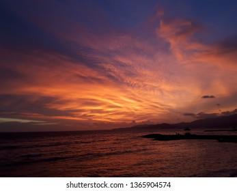 sunset in candidasa beach