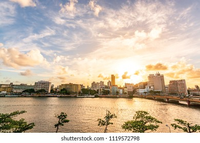 Sunset at Capibaribe River (Rio Capibaribe), Alfandega Bund (Cais da Alfândega), Recife, Pernambuco, Brazil