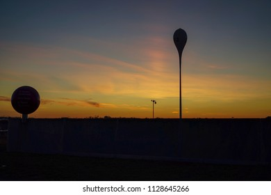 Sunset at car park of Allianz Arena, Munich, Germany (silhouette picture)