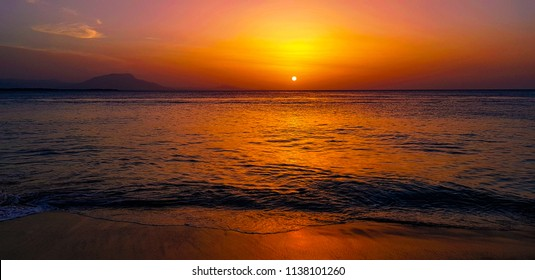 Sunset in the caribbean sea