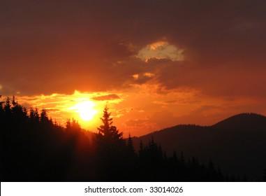 Sunset in Carpathian Mountains, Ukraine