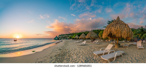 Sunset at Cas Abou Beach on the caribbean island of Curacao
