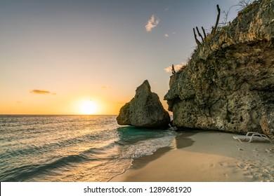 Sunset at Cas Abou Beach on the caribbean island of Curacao