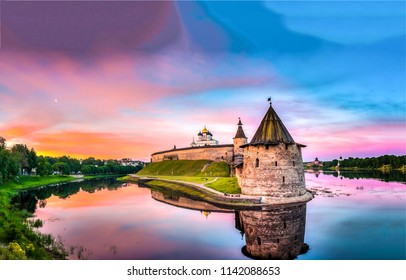 Sunset castle fortress river landscape. Castle sunset fortress water reflection panoramic landscape. Castle water sunset fortress view
