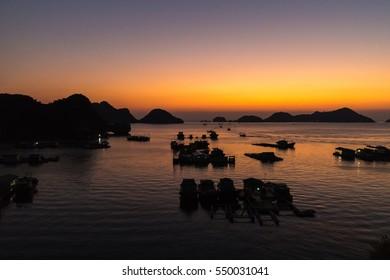 Sunset at Cat Ba Island