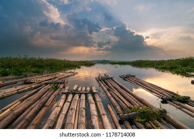 sunset in cengklik dam, central java indonesia